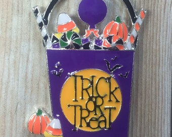Trick or Treat Candy Bucket Enamel Pendant, 44mm*35mm, Halloween Pendant, Candy, Chunky Bead Necklace, Chunky Necklace, DIY Necklace