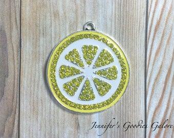 38mm Yellow Lemonade Lemon Slice Rhinestone Pendant Chunky Necklace Beads