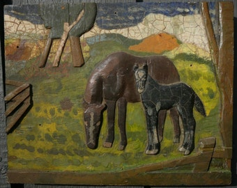 Folk Art Painting Horse and Foal