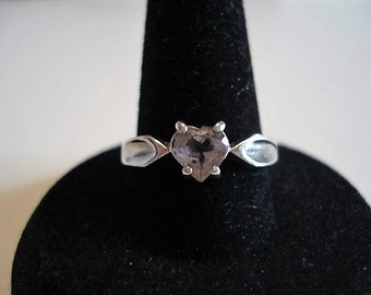 AVON Sterling Silver Vintage Ring with Heart Cut Amethyst Stone, Size 7.25