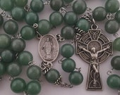 Large Rosary, Saint Patrick, Celtic Crucifix, Green Aventurine, Strong, Stainless Steel, Five Decade, Handcrafted, Gemstone Rosary