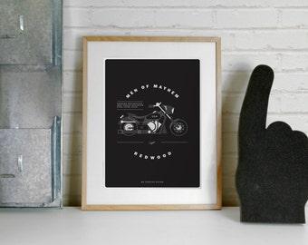 Harley Davidson Sons of Anarchy Poster Print - Opie, A4 Illustration Print, Motorbike, Motorbike, Illustration Print, Minimalist,minimal