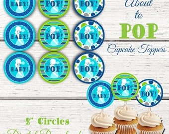 She's About to Pop Baby Shower Cupcake Toppers. About to Pop Cupcake toppers. Ready to Pop Baby Shower. Going To Pop Baby Shower Decorations