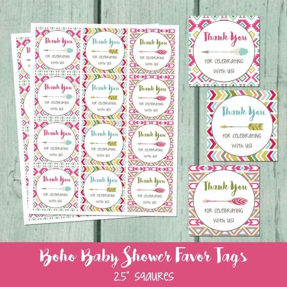 Boho Baby Shower Printable Favor Tag Bohemian Arrow Baby Shower