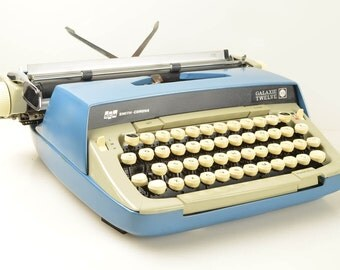 SALE! Vintage Smith Corona Galaxie 12 Manual Typewriter in Case, Types Beautifully, Blue and White