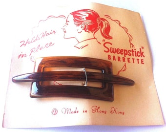 Vintage 1950s Vintage Sweepstick Barrette - Tortoise Brown - From an Old Store - New with Free 1940s Hair Net with Purchase !