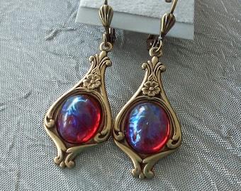 Dragon's Breath Antiqued Brass Earrings