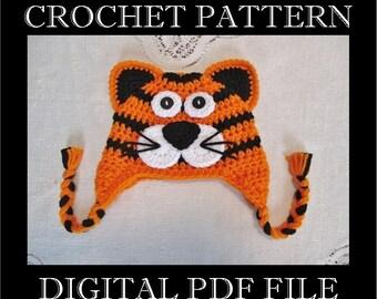 PDF PATTERN - Full Face Tiger Cat - Jungle Cat Crochet Hat Pattern