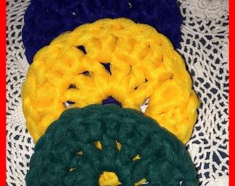 Lot 3 Nylon SCRUBBIES Crocheted Blue Golden Yellow Green  FREE SHIP