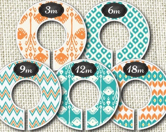 Baby Closet Dividers- Teal and Orange Lala Print