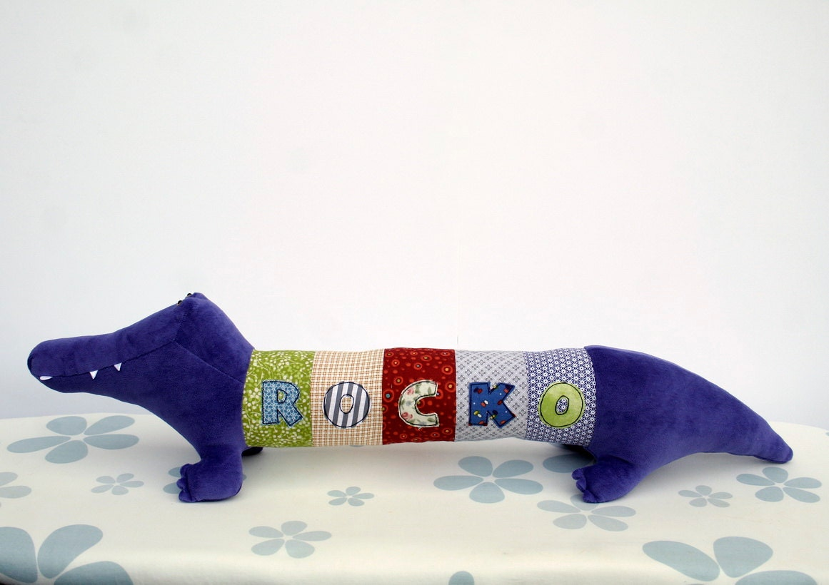 Personalized Crocodile, Rocko the Purple Croc, Long Plush Aligator stuffed animal, plush toy, personalized stuffed animal