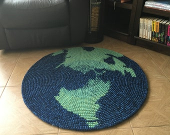 Map Rug, NEW hand crochet wool rug, 36 inches in diameter, other sizes available to order