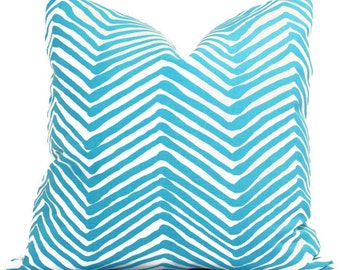 Turquoise Zig Zag Quadrille Pillow Cover 18x18, 20x20, 22x22, Eurosham or Lumbar pillow Accent Pillow, Throw Pillow, Toss Pillow, China Seas