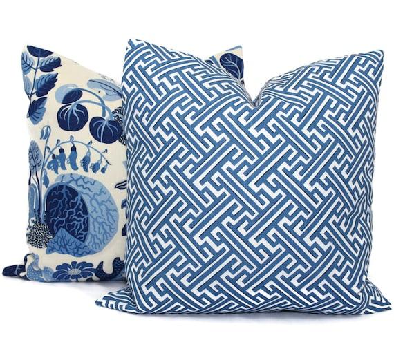 Trellis Cobalt Blue Decorative Pillow Cover Square Eurosham