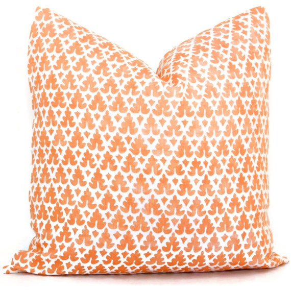 Quadrille Orange Volpi Pillow Cover Square, Eurosham or Lumbar pillow, Accent Pillow, Throw Pillow, Toss Pillow, Quadrille pillow