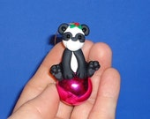Polymer Clay Panda Bear on Pink Glass Ball Ornament
