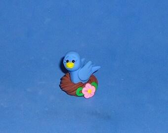 Polymer Clay Bluebird in Nest