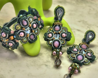 Soutache Bracelet / dark green, grey, rosa