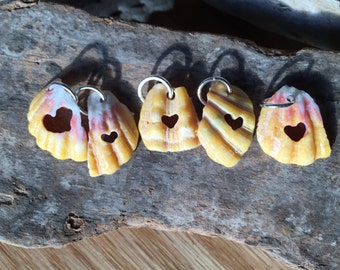 Bright Hawaiian Sunrise Shell Chips, Carved Hearts Charms, Hand Carved Heart Shells Pendants, Earrings, 5 Heart Charms, Jewelry Supply