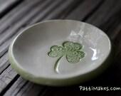 Small Hand Dish/ kiln fired /Shamrock dish / Gift /Essential Oils