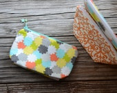 Small quilted /cotton lined cosmetic pouch/ make-up bag/Handmade beaded zipper pull
