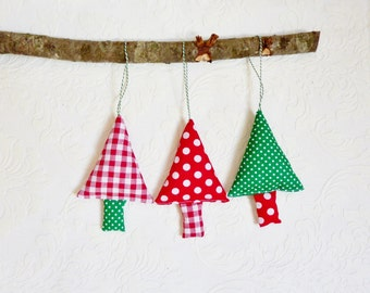 Christmas ornaments gingham tree ornaments