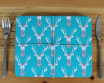 Stag Placemat Set -  place mats - table mats - animal placemats - cork placemat- placemat set - blue placemats - deer placemats - stag