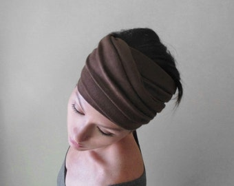 MILK CHOCOLATE BROWN Yoga Head Scarf - Lightweight Jersey Hair Wrap - Womens Yoga Hair Accessory - Yoga Headband - Brown Head Wrap