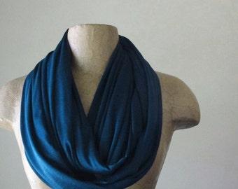 PEACOCK BLUE Infinity Scarf - Dark Teal Circle Scarf - Jewel Tone Jersey Loop Scarf  - Vibrant Eternity Scarf