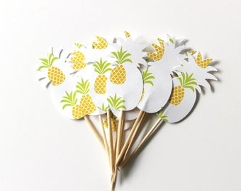 12 Pineapple Cupcake Toppers, Birthday Party, Pineapple Party, Double Sided, Tropical Decor
