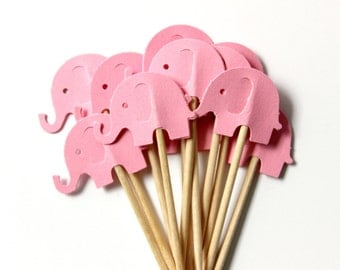 Pink Elephant Cupcake Toppers, Food Pick, Girl Birthday, Baby Shower, Set of 12
