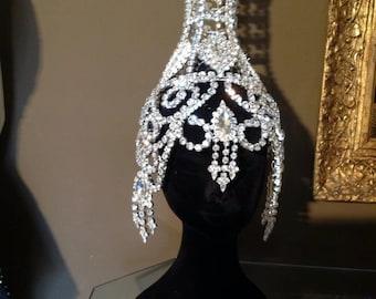 Vintage inspiration Rhinestones Showgirl burlesque Headdress Headpiece