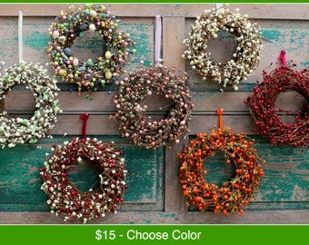 Mini Berry Wreath - Mini Wreath - Fall Wreath - Christmas Wreath