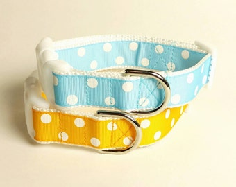 Dog Collar or Martingale - White Polka Dots - Choose Your Color