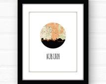Auburn art print | Alabama art print | Auburn, Alabama skyline print | city skyline print | city skyline art | city map art | university art