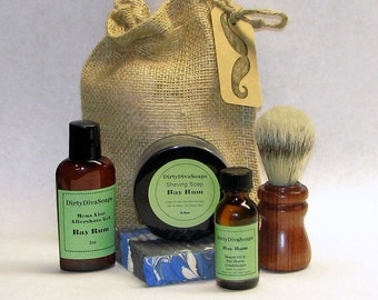 Large Mens Shaving Gift Set with Shea butter Soap, Shave Soap, Pre Shave Oil and Aftershave in Bay Rum, Gifts for Men