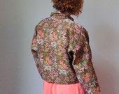 50%WINTERSALE 90s kaki woven floral black velvet bomber jacket M/L