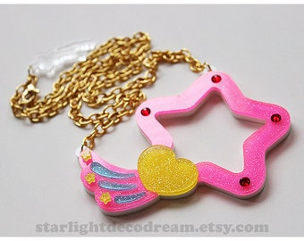SALE Glittering Magical Angel Creamy Mami Lumina Star Wand Laser Cut Acrylic Necklace for Mahou Kei, Magical Girl