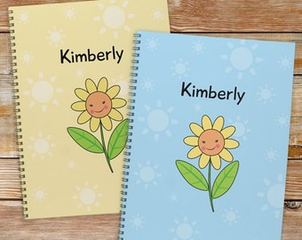 Personalized Flower Notebook - Set of 2 [back to school, notebook, set of 2, flower, yellow, blue, school supplies] -gfy11049721-S2
