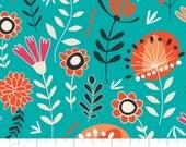 05033 -Camelot Fabrics Gypsy Lane Wildflowers in bali aqua and peach  - 1 yard