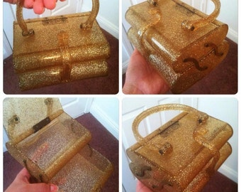 RARE 1950 two level gold flecked sparkle lucite evening purse