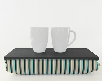 Laptop Lap Desk or Breakfast serving Tray without edges - graphite grey tray with black, aqua blue, grey stripes