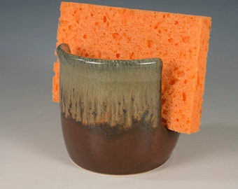 Sponge Holder with flowing textured golden brown/ black glaze handcrafted by Seiz Pottery