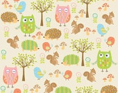 LAMINATED cotton fabric by the yard - Owl friends - Owls Hedgehogs Squirrels on cream - Owl & Co EXCLUSIVE (aka oilcloth, coated vinyl)