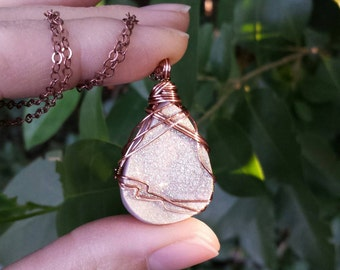 Druzy Quartz Necklace, Luxe, Starlight White, Rose Gold, Copper, Gorgeous and Sparkly, One-of-a-kind, *Ready-to-ship*