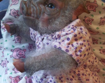 Reborn ready to ship gray and pink pig Piggy baby Artist doll  Piglet OOAK newborn ooak