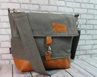 Lulu Large Flap Messenger Satchel  - Charcoal Linen and PU Leather Travel Business Nappy Bag Stroller Attachment