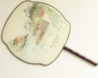 Vintage Silk Bamboo Hand Painted Pagoda Paddle Fan