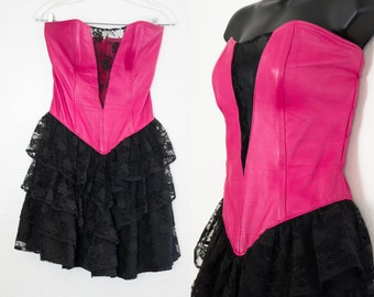 leather and lace dress - S