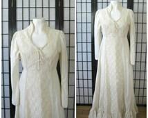 Vintage 1970s Maxi Ivory Cream Prairie Gown Long Wedding Dress 34 S M Victorian Edwardian Style Party Frock Renaissance Corset Lace